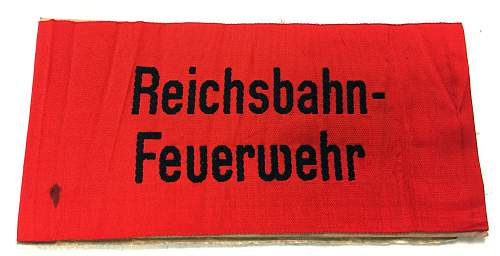 Reichsbahn Firefighters Armband
