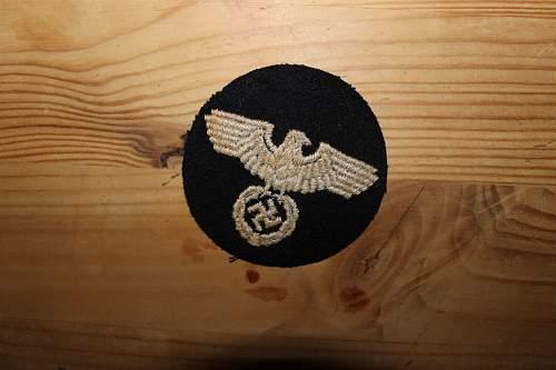 reichspost first pattern sleeve badge or luftwaffe fire brigade?