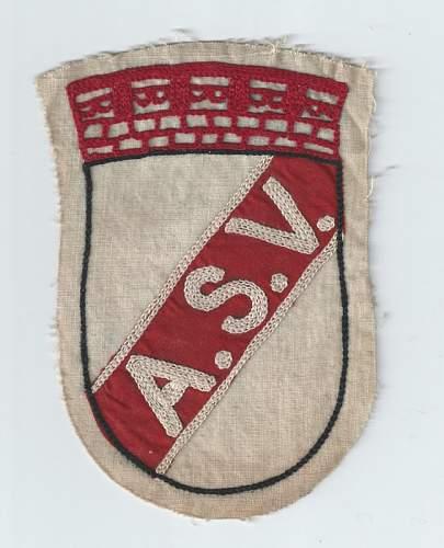 Click image for larger version.  Name:ASV 1920 - 1930s Allgemeiner Sport Vereinsport patch  $10 (648x800).jpg Views:49 Size:129.8 KB ID:810054