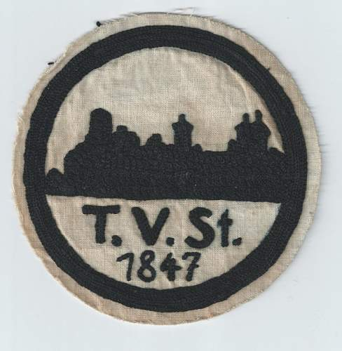 Click image for larger version.  Name:TV ST 1920 - 1930s Turnverein sport patch front $10 (781x800).jpg Views:66 Size:139.4 KB ID:810058