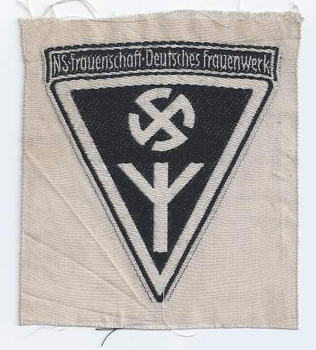 Click image for larger version.  Name:NS Fouenschaft Deutsche Frauenwerk front  - Copy.jpg Views:16 Size:229.2 KB ID:810690