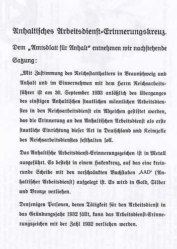 Anhalt Arbeitsdienst Ehrenzeichen