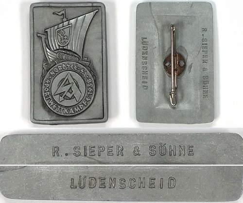 SA Marine Kiel 1939 Badge.