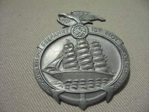 Tag der Deutschen Seefahrt 1935 day badge