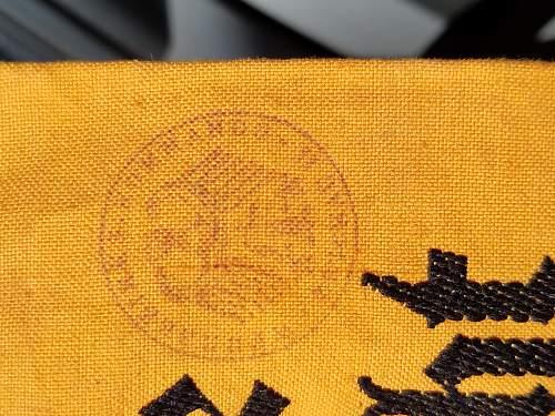 Wehrmacht kampfbinde stamp question