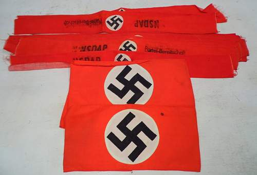 Lot of NSDAP Printed Armbands
