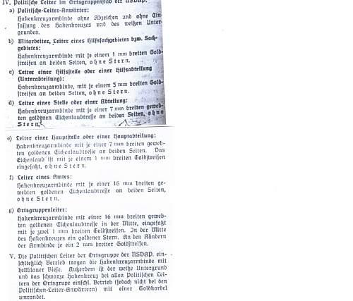 NSDAP Leader Armbands per 1943 Orgbook