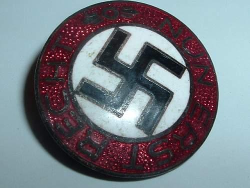 NSDAP Party Badge German Nazi Nun Erst Recht Pin