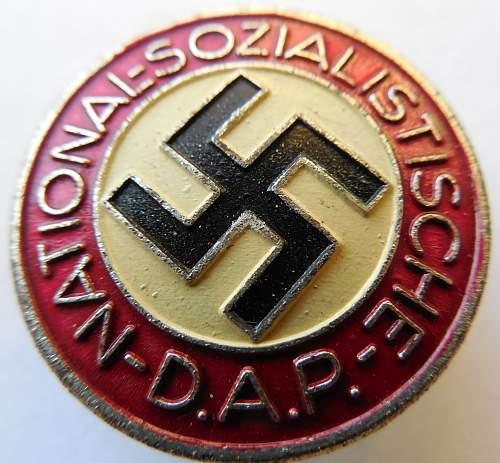 My second NSDAP Party Pin (Parteiabzeichen)