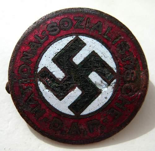 Ground dug pre RZM NSDAP party pin