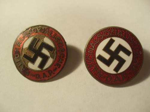 NSDAP Party membership badges and SS Stick Pin Opinions