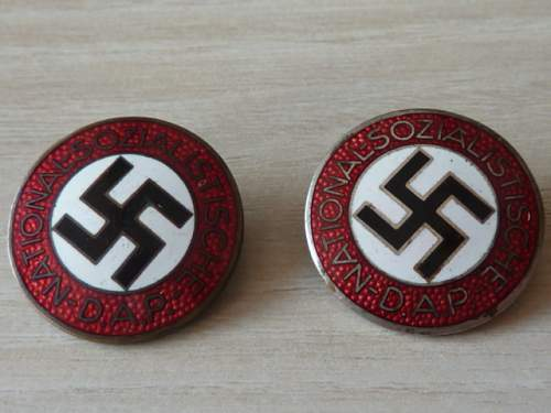 Two early Party badges ,  ges. gesch.  , original or fake  ?