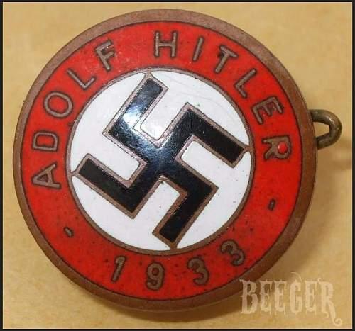 Help with Adolf Hitler 1933 badge, please.