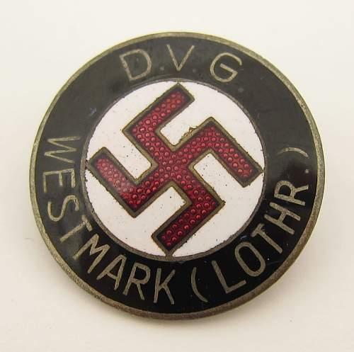 DVG Westmark Badge - W. Redo, Saarlautern