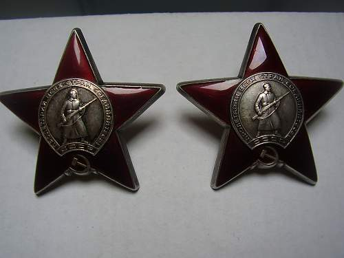 A pair of RED STARS...