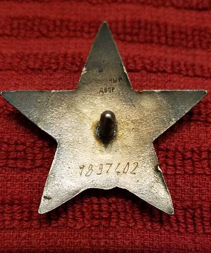 Order of the Red Star No. 1897402 for Review