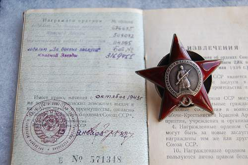 My first Order of the Red Star and Award Booklet #508072