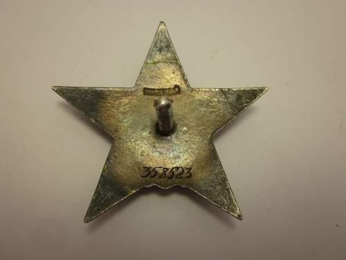 Order of the Red Star #358523 + Combat Merit Medal + Booklet