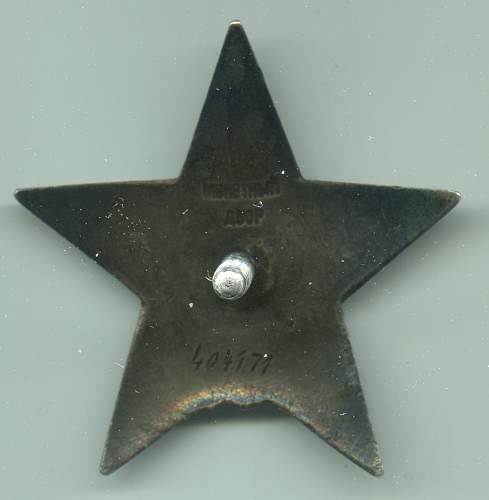 Order of the Red Star, #404171, Squad Leader, 161st Rifle Division