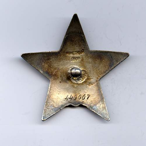 Order of the Red Star, #449007, Platoon Leader 179th Independent Antiaircraft Artillery Battalion