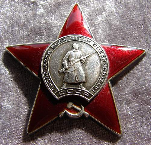 "Order of the Red Star s/n 1.781.725 Duplicate with ""D"" researched"