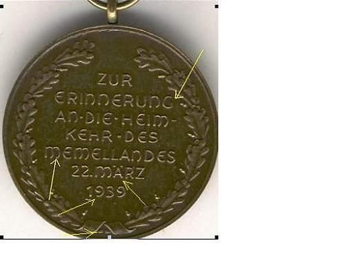 Medaille zur Erinnerung an die Heimkehr des Memellandes