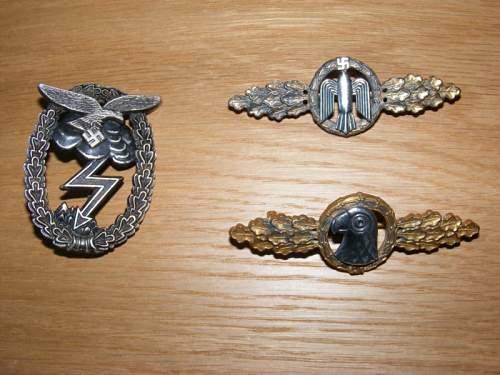 Luftwaffe badges/clasps
