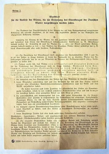 Mutterkreuz set, including regulations sheet......