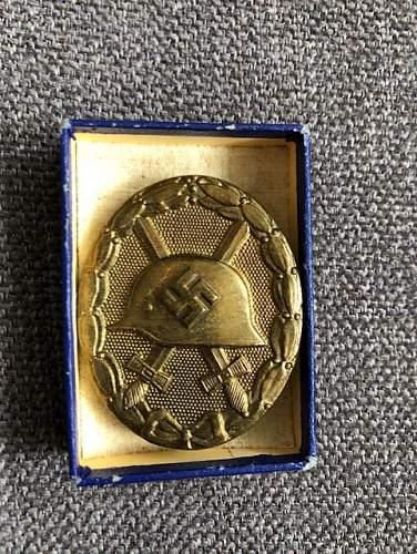 Verwundetenabzeichen 1939 in Gold, with maker mark L/63?