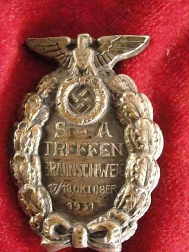 SA Treffen  Braunschweig 1931 rally badge