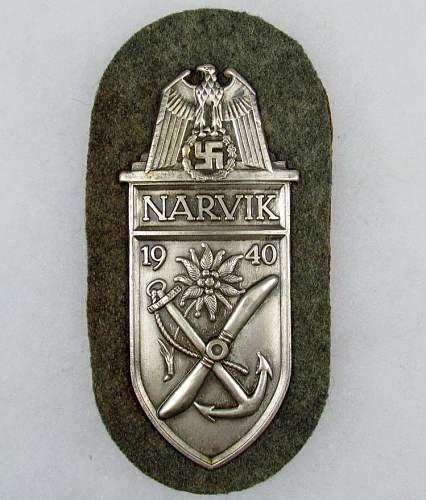 Narvik shield on wool backing....original or fake???