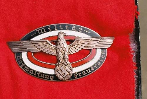 MilitarVerwaltungs Frankreich badge,,,opinions wanted