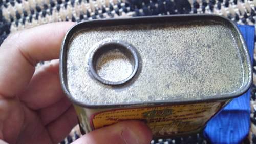 Denazified 25 year service medal (Treuedienst-Ehrenzeichen) & gun powder tin
