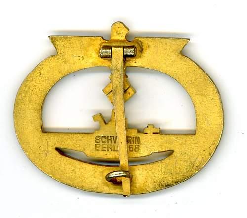 U-Boots Kriegsabzeichen authenticity.