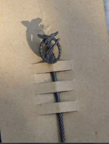 new Luftwaffe Flakkampfabzeichen stick pin with LDO release paper