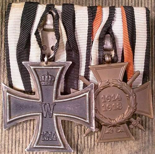 Click image for larger version.  Name:30) EK2 1914 &  Cross of honour.jpg Views:25 Size:125.7 KB ID:257526