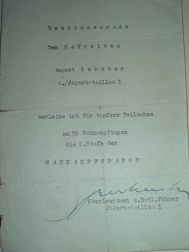 Document Grouping to a Jaeger w Nahkampfspangen, EK etc