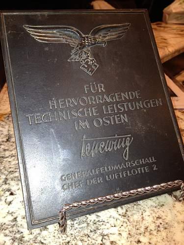 Luftwaffe Honor Plate..........................