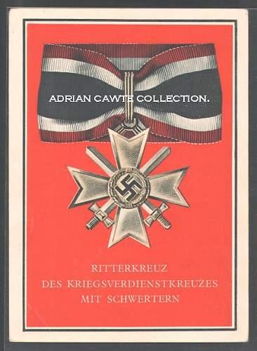 Die Kriegsorden Des Grossdeutschen Reiches postcard series.