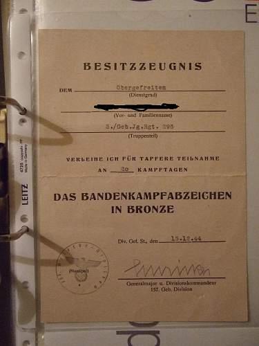 Bandenkampfabzeichen in bronze,Juncker