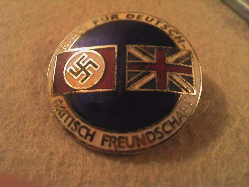 British and German relations enamelled badge, clarification needed please