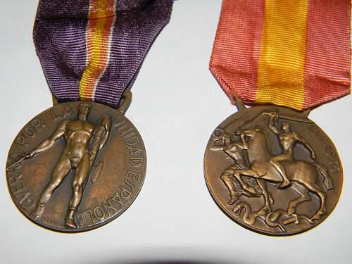 spanish medals for german/italian volontaries