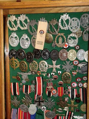 Some medals and badges hidden in the attic.