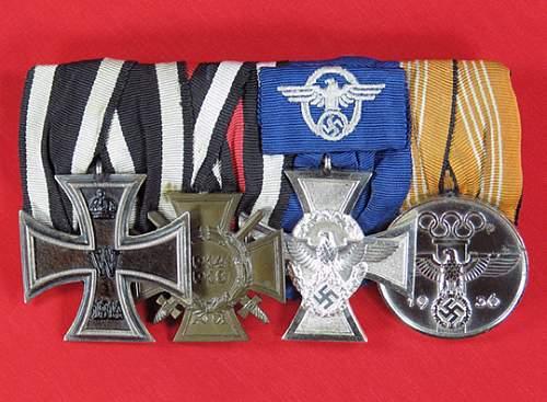 German Police 18 year medal bar