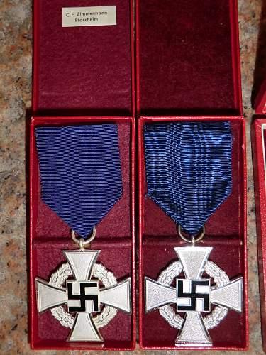 Treue Dienst Ehrenzeichen 40 Jahre & 25 Jahre.
