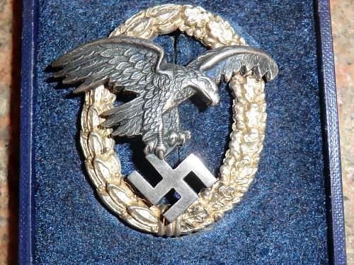 Luftwaffe Flugzeugbeobachterabzeichen cased