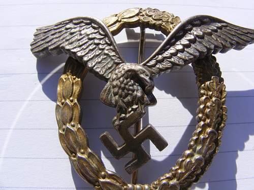 Luftwaffe Flugzugfuhrerabzeichen.