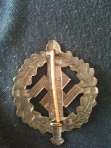 My new Bronzes SA-Sportabzeichen
