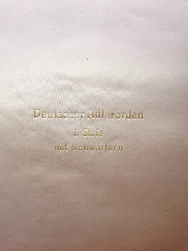 Cased  Deutsche Adlerorden erster Klasse  mit oder ohne Schwerter