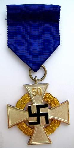 Thoughts on Treue Dienst Ehrenzeichen, 50 Jahre - Faithful Service Award, 50 years